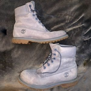 Women's 6.5 Grey-Blue High Top Timberland's
